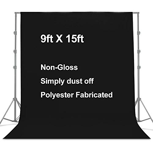 LimoStudio 9 x 15 feet/ 2.7 x 4.6 Meters Black photography backdrop Background Screen with 3 Clamps for Photo Video Studio Photography, Black background for photography, Black screen backdrop, AGG3032