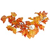 SILIVN Fall Decorations,Fall Garland,Fall Wreath,Thanksgiving Decorations,Christmas Decor Lighted Fall Garland | 8.2 Feet | 20 Lights (1 Pack)