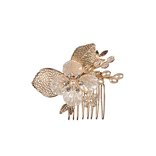 Feyarl Handmade Hair Side Comb with Crystal Rhinestone Gold Leaves Shell Flowers, Wedding Decorative Comb Party Hair Comb (Gold) Gold Enameled Flower