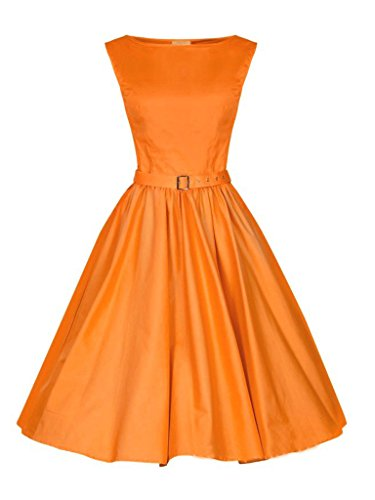 Persun Orange Vintage Sleeveless Dress