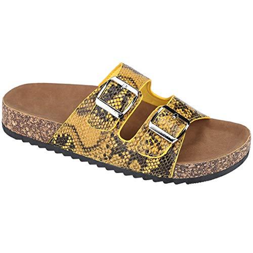 (CLOVERLY Comfort Low Easy Slip On Sandal - Casual Cork Footbed Platform Sandal Flat - Trendy Open Toe Slide Sandal Shoes (10 M US, Yellow Snake))