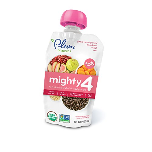 4, Organic Toddler Food, Guava, Pomegranate, Black Bean, Carrot and Oat, 4.0 ounce (Pack of 12) (Guava Vitamin C)