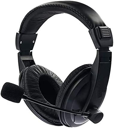 Alician ブラック調整可能ヘッドセット音楽ゲーム用マイクロフォンヘッドフォンプラグアンドプレイ(3.5mm、PCラップトップコンピュータ用) ブラック