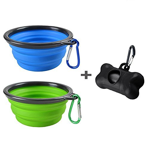 (2 Pack Portable Collapsible Dog Bowl,Food Grade Silicone BPA Free,Foldable Travel Bowl Dish for Pet Dog Cat Food Water Feeding,Including Black Dog Poop Bag Holder Dispenser,Blue and Green)