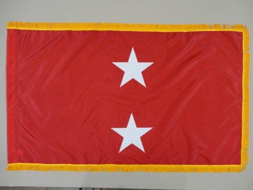 U.S. Marine Corps USMC 2-Star Major General Indoor Outdoor Appliqued Nylon Flag Lined Pole Hem and 2″ Yellow Gold Fringe 3′ X 5′ For Sale
