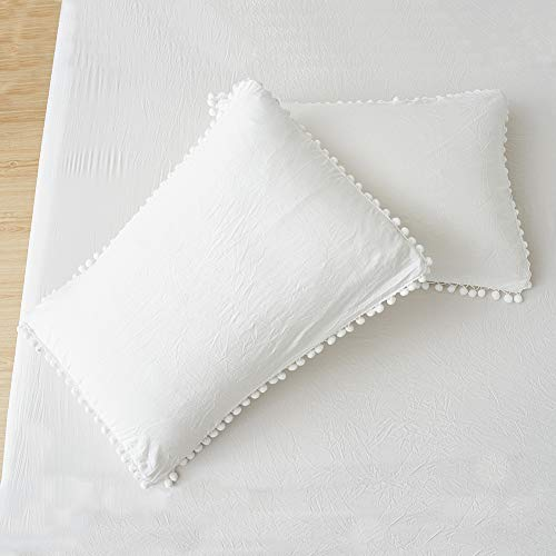 MOVE OVER White Pom Poms Pillowcases, Off White King Pillow Cases Set of 2, 100% Washed Microfiber, Soft White Ball Fringe Pillow Cover King 2 Pack (King, White)