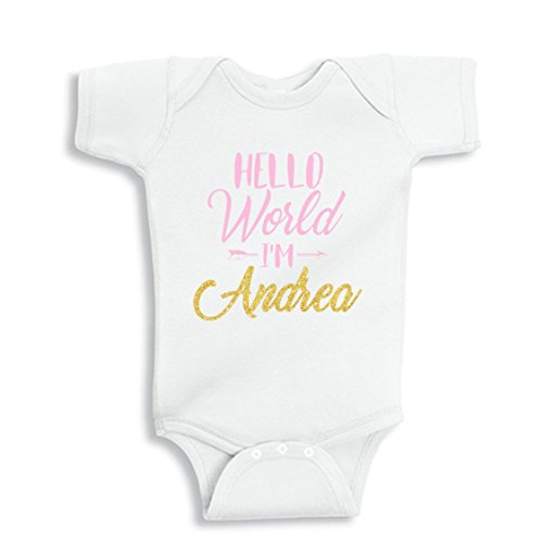 NanyCrafts' HELLO WORLD I'm... Personalized Girl baby bodysuit NB White