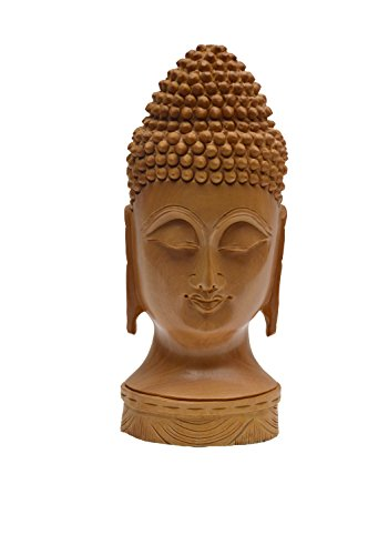 """indiacolors 8"""" Handmade Wooden Meditating Buddha Head Figurine/Statue for Home & Office Décor and Gift for all seasons"""