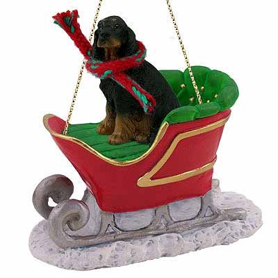(Gordon Setter Sleigh Ride Christmas Ornament -)