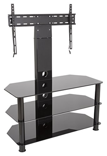 - AVF SDCL900BB-A Stand with TV Mount for TVs up to 60-inch, Black Glass, Black Legs