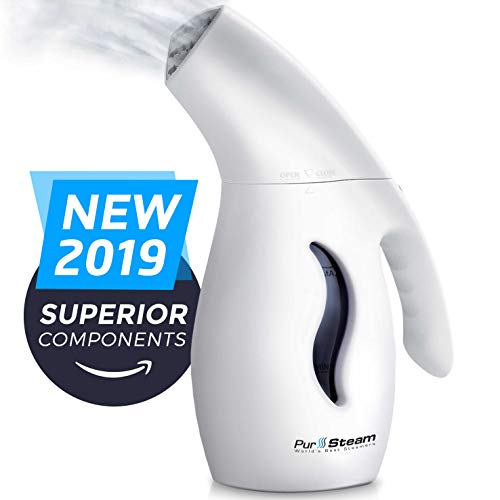 PurSteam Garment Steamer For Clothes, Elite Powerful 7-1 Fabric Steamer For Home/Travel. Remove Wrinkles/Steam/Soften/Clean/Sanitize/Sterilize and Defrost with UltraFast-Heat Aluminum Heating Element (Best Handheld Fabric Steamer 2019)