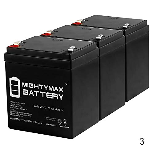 Mighty Max Battery 12V 5AH Battery for Razor PowerRider 360 Electric Tricycle - 3 Pack Brand Product