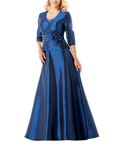 Königsblau Mutter Eine Kleid der formale Lange Linie Braut HWAN Taft gzwdIIq