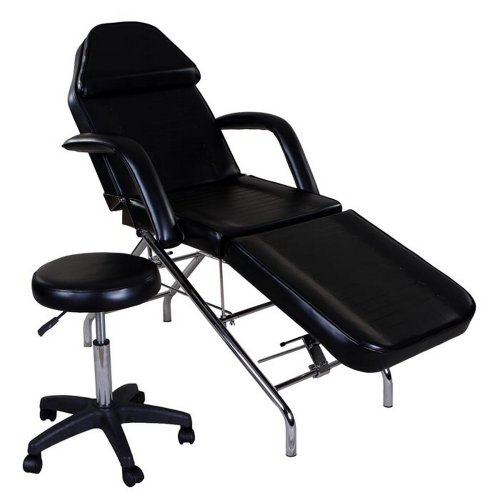 "Icarus""Hera"" Black Facial Bed Spa Table Tattoo Chair Bed with Towel Holder & Stool"
