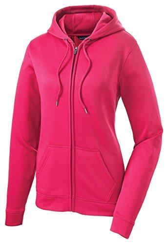 Sport-Tek Women's Fleece Full-Zip Hooded Jacket - Neon Pink LST238 - Fleece Gear Tek