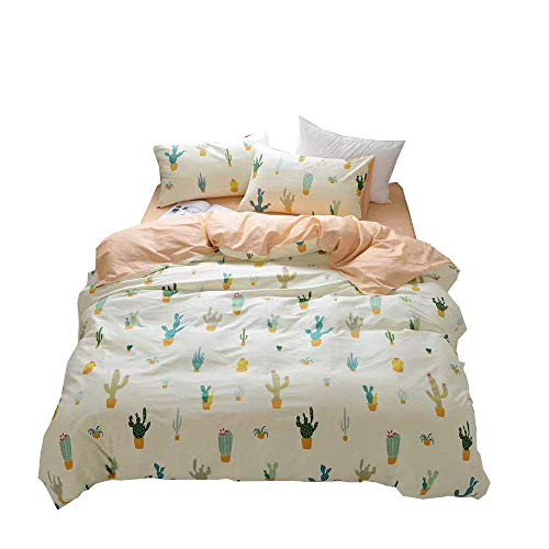 Enjoylife(TM) 3 Pieces 100% Cotton Comforter/Duvet Cover Cover Sets For Kids Adults With 2 Pillowcases Reversible Printed Pattern Cactus#D Full Queen Size by EnjoyLife Inc