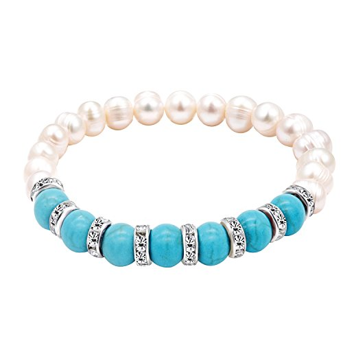 - Katia Camille Handmade Turquoise Freshwater Pearl Beads Bracelet Cuff Natural Gemstone Smooth Round Loose Beads Stretchy Bracelet for Women Men(Turquoise)