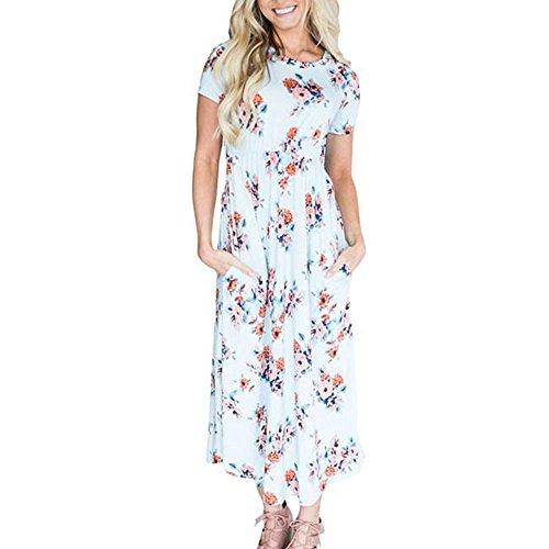 ... WINWINTOM Rockabilly Kleider Damen,Sommerkleider Abendkleid  Knielang,Damenmode Rundhalsausschnitt Kleid Slim Print Hepburn Dress ... 66e3369ae9