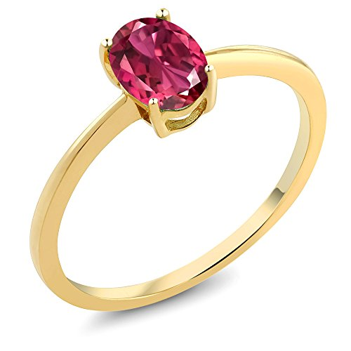 (Gem Stone King Pink Tourmaline 10K Yellow Gold Solitaire Engagement Ring 0.70 cttw (Size 5))