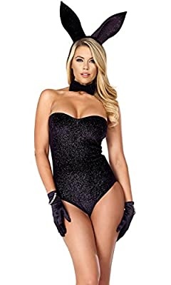 Forplay Women's Haute Hopper Shimmer Bodysuit with Bow Tie and Ears