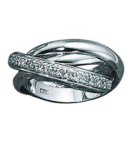 Cubic Zirconia Rolling Ring (Sterling Silver Cubic Zirconia Rolling Ring Or Russian Wedding Ring 3mm Size 8)