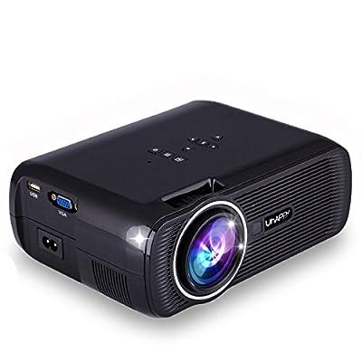 ESoku HD Projector 1080P LED Mini Projector 3000 Lumens Portable Home Theater Video Projector (Black)