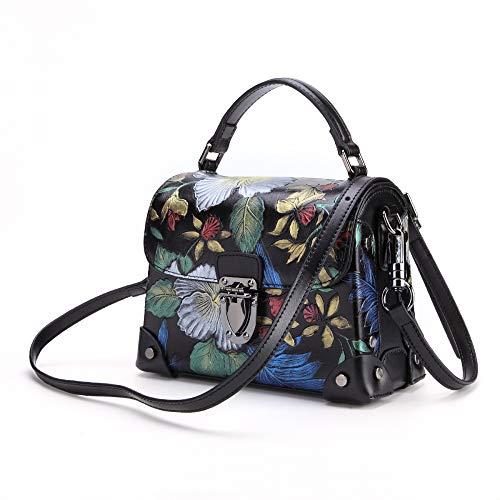 2018 New Women's Handbag Leather Shoulder Bag Retro Handmade Diagonal Cross Bag Chinese Style Stereo Flower Bag