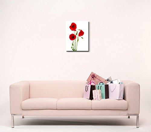 Red Poppy Flowers Against White Background Wall Decor Wood Framed