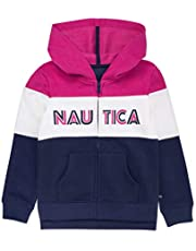 Nautica Big Girls' Long Sleeve Hoody, Soft Pink Color Block, S7