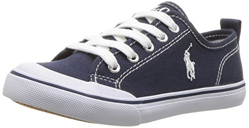 (Polo Ralph Lauren Kids Unisex Carlin Sneaker, Navy, 5 Medium US Big Kid)