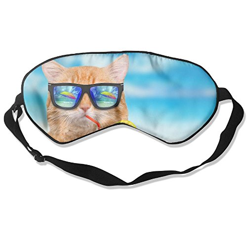 ZhiqianDF Cat Wearing Sunglasses Relaxing In The Sea Goggles Sleep Shading Breathable Cute Eyes Relieve Eye - Sunglasses Like Dior