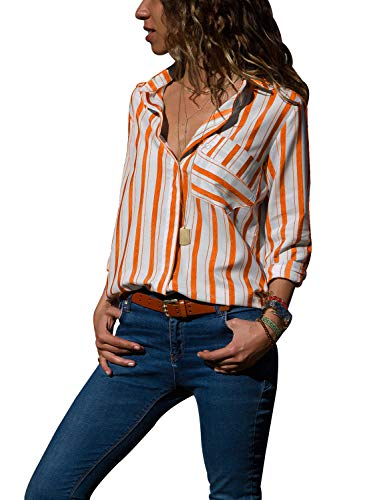 (ROSKIKI Womens Striped Pocket Button Down Collared Tops Casual Loose Quarter Sleeve Fall Designer Blouses Shirts Orange)