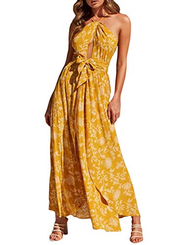 BerryGo Women's Boho Backless Halter Floral Maxi Dress Sleeveless Split Beach Dress Yellow-1-L]()