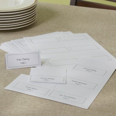 gartner studios place cards white with platinum foil border 375 x 165 - Folded Place Cards