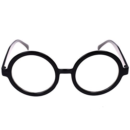 BCP Plastic Black Round Frame Eyeglasses Costume Party Favors ()
