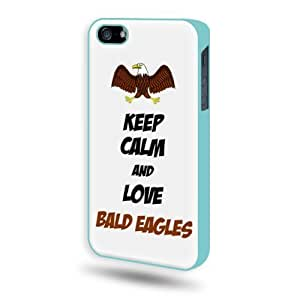 Keep Calm And Love Bald Eagles iPhone 5 Case - Candy Case iPhone 5S Case - Candy Case - Aqua Blue SoftShell Full Plastic