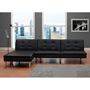 Amazon Black Modern Sectional Sofa Futon Convertible Sleeper Bed Couch Chaise Ottoman Set