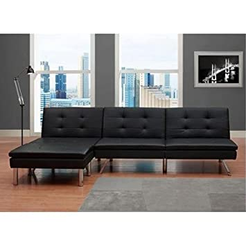 Black Modern Sectional Sofa Futon Convertible Sleeper Bed Couch Chaise  Ottoman Set