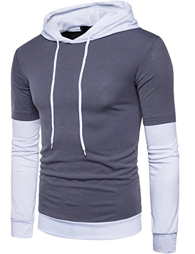 WHATLEES Mens Hipster Casual Slim Fit Fake Two Piece Long Sleeve Hooded T Shirt Tops T105-Darl Gray ()