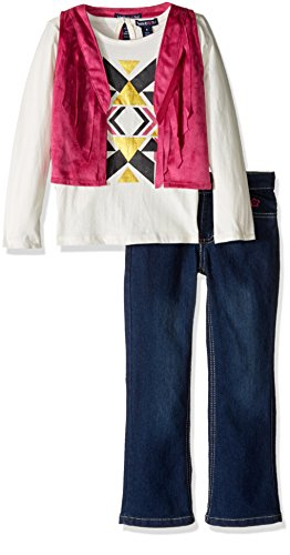 Limited Too Little Girls' 3 Piece Set Long Sleeve T-Shirt, Vest, and Denim Pant, KR55 Berry Pink, 5