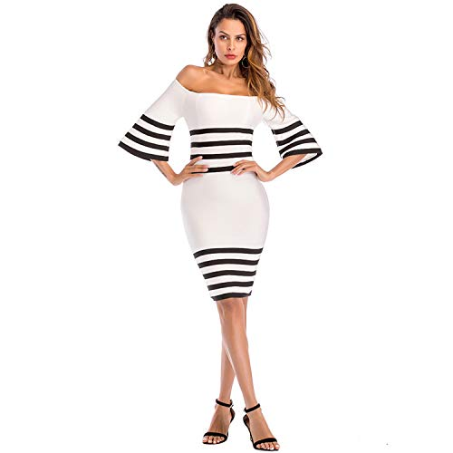 ADYABY Women Knee Length Dress Off Shoulder Bodycon Dress Bandage Black and White Striped Celebrity Party Dresses for Women