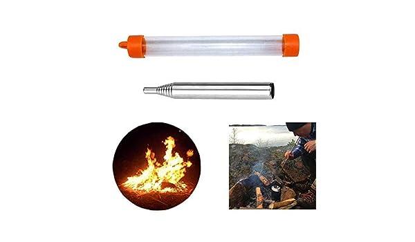 SHICHENGHUI Tubo de Acero Inoxidable soplar Fuego fogata Fuego Fuelle sopla la Herramienta Tubo Ajustable Plegable Herramienta para Acampar al Aire Libre Supervivencia: Amazon.es: Deportes y aire libre
