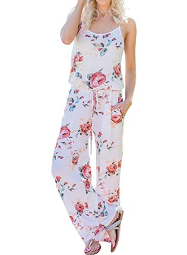 Floral Printed Jumpsuit Women Halter Sleeveless Wide Long Pants Jumpsuit Rompers (L, White)