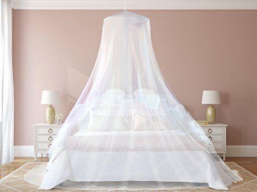 #1 The Best Mosquito Net By NATURO for Double Bed Canopy | Largest Screen Netting Curtains | Bonuses: 2 Insect Repellent Bracelets , A Full Hanging Kit, Carry Bag + E-book