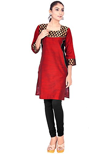 IndusDiva Women's Red Silk Cotton Straight Cut Kurti