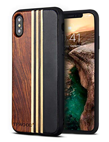 Compatible for iPhone Xs Wood Case, Wood Grain Cover Slim Textured Scratch Proof Drop Proof Durable Bumper Full Body Protective Case for iPhone -