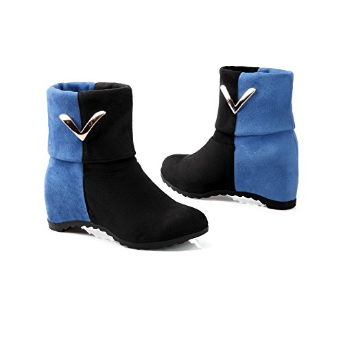 Assorted Colors Boots Women's Blue Round Imitated Heels Pull AgooLar Suede Kitten Toe On nHwZ8qd0P
