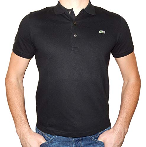 Lacoste Men's Classic Short Sleeve L.12.12 Pique Polo Shirt,Black,Large