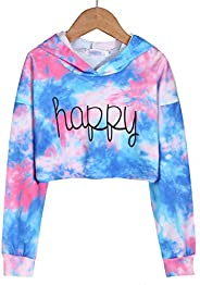 Arshiner Girls Crop Tops Tie-Dye Hoodies Kids Long Sleeve Pullover Sweatshirts