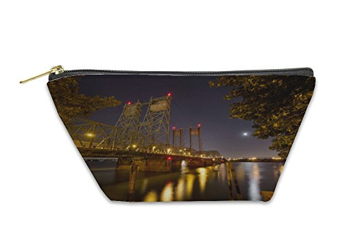 Gear New Accessory Zipper Pouch, Columbia River Crossing Interstate Bridge At Night, Large, - In Downtown Shops Crossing